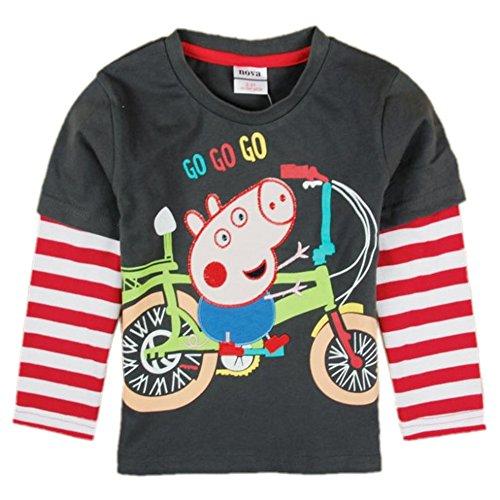 Eowsrzm Little Boy's Embroidery Spring Autumn Long Sleeve T-shirt ,6t