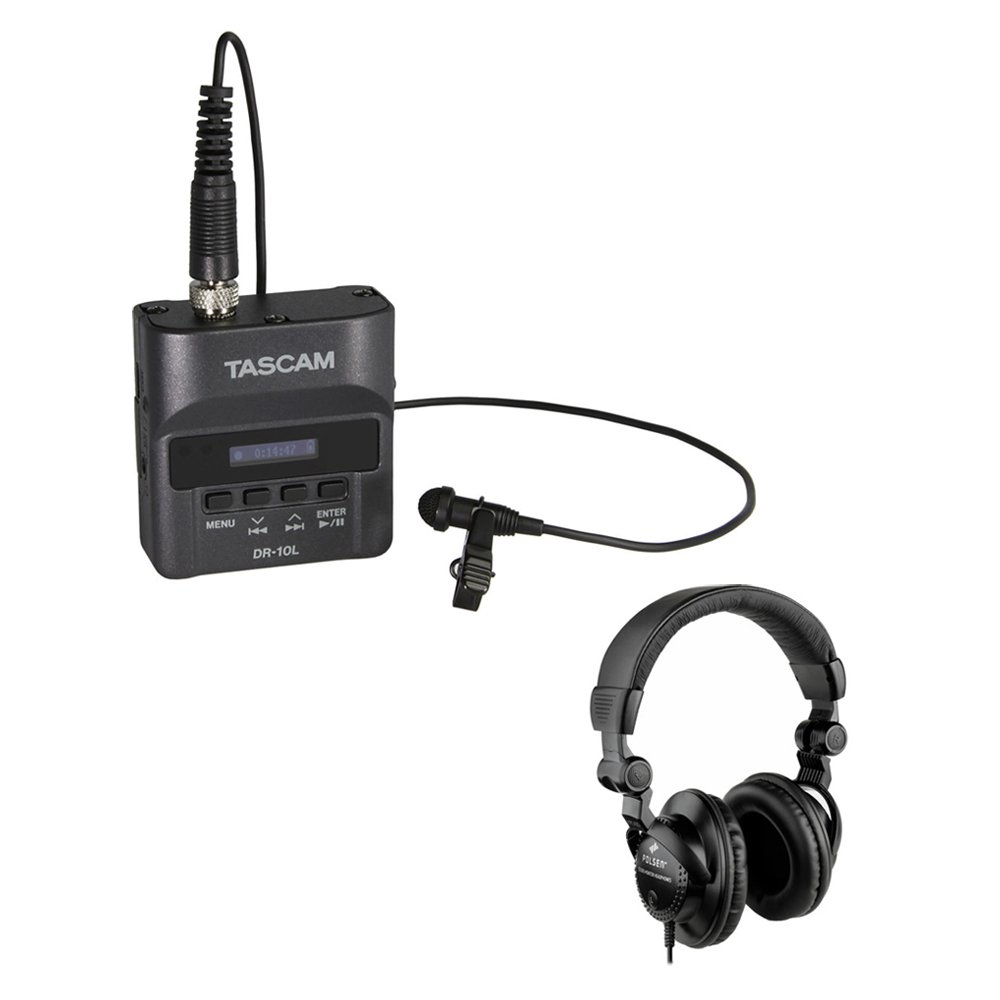 Tascam DR-10L Digital Audio Recorder with Lavalier Mic & HPC-A30 Studio Monitor Headphones Kit