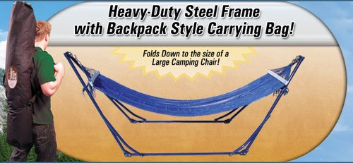 High-Grade Foldable Hammock (Blue) Folding Hammock with Carrying Bag, Outdoor Stuffs