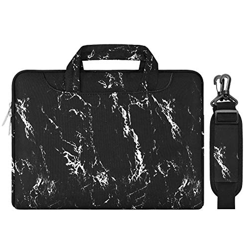 MOSISO Laptop Shoulder Bag Compatible 15-15.6 Inch MacBook Pro, Ultrabook Netbook Tablet, Protective Canvas Marble Pattern Carrying Handbag Briefcase Sleeve Case Cover, Black