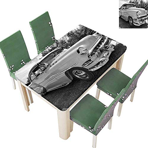 Printed Fabric Tablecloth Retro Classic P Up Style Hollywood Movi Image Work Black White Washable Polyester 54 x 102 Inch (Elastic Edge) ()