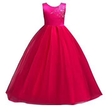 Review IBTOM CASTLE Little Big Girls' Tulle Flower Long Dresses 7-16T Pageant Party Wedding Floor Length Prom Dance Evening Gowns