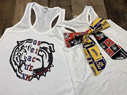 Handmade~Football Shirt with Bow on Back~ House Divided ~College Football~ LSU/UGA~ House Divided bow