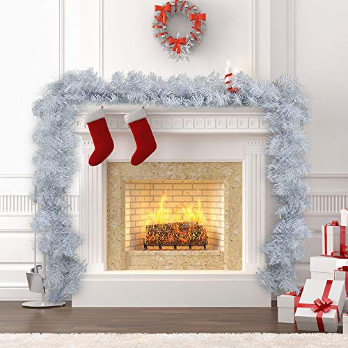 Z 9ft Extra Thick Lit White Christmas Garland Wired Swag Xmas Decoration Rattan from Z