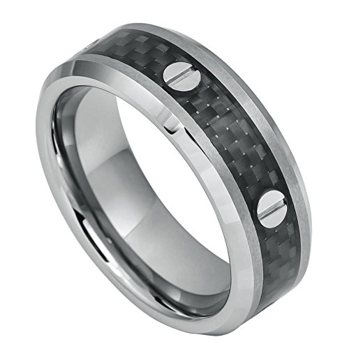 Screw Accents over Black Carbon Fiber Inlay High Polished Beveled Edge Wedding Band Ring (Skull Thumb Screw)
