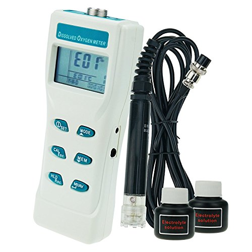 TekcoPlus Portable Digital Large LCD Display Monitor Dissolved Oxygen DO Meter Tester 0~199.9% / 0~19.99 PPM / 0~19.99 mg/I Range with Cable