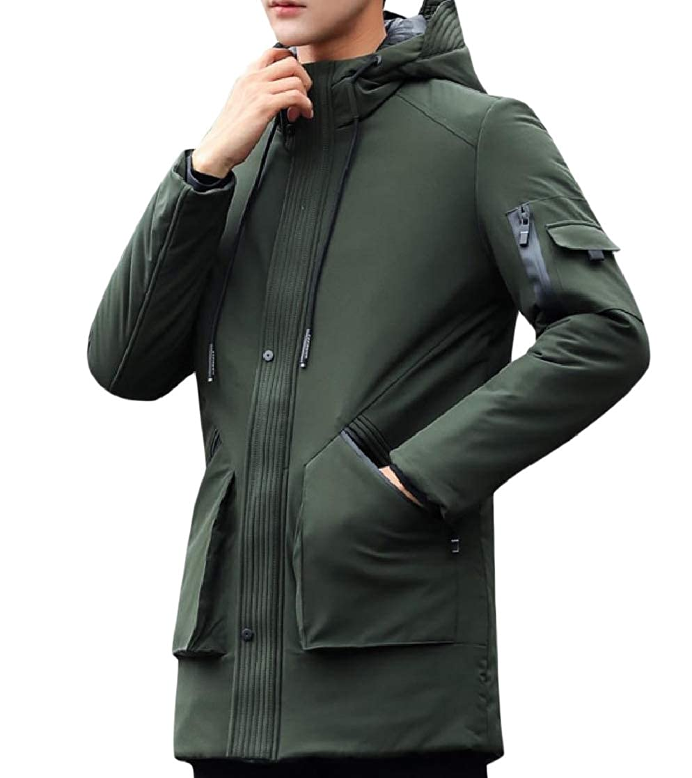 YUNY Men Casual Padded Hooded Thickened Quilted Coat Outwear Anorak Jacket Green S