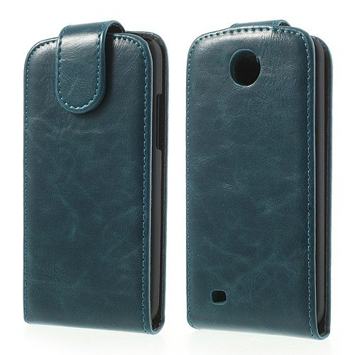 JUJEO Zara Mini Crazy Horse Vertical Leather Cover for HTC Desire 300 - Non-Retail Packaging - Blue