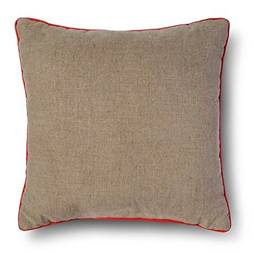 Neutral Tan Toss/Throw Pillow with Orange trim- Room Essenti