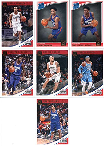 2018-19 Donruss Basketball Los Angeles Clippers Team Set of 7 Cards: (Rookies included) Patrick Beverley(#4), Lou Williams(#14), Avery Bradley(#24), Tobias Harris(#34), Marcin Gortat(#44), Jerome Robinson(#152), Shai Gilgeous-Alexander(#162)