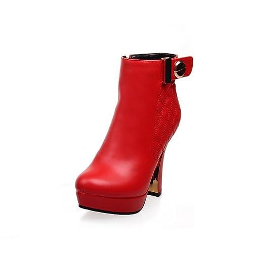 Zapatos de mujer de moda Joker/Plaid áspero botines y Velcro y botas desnudo/