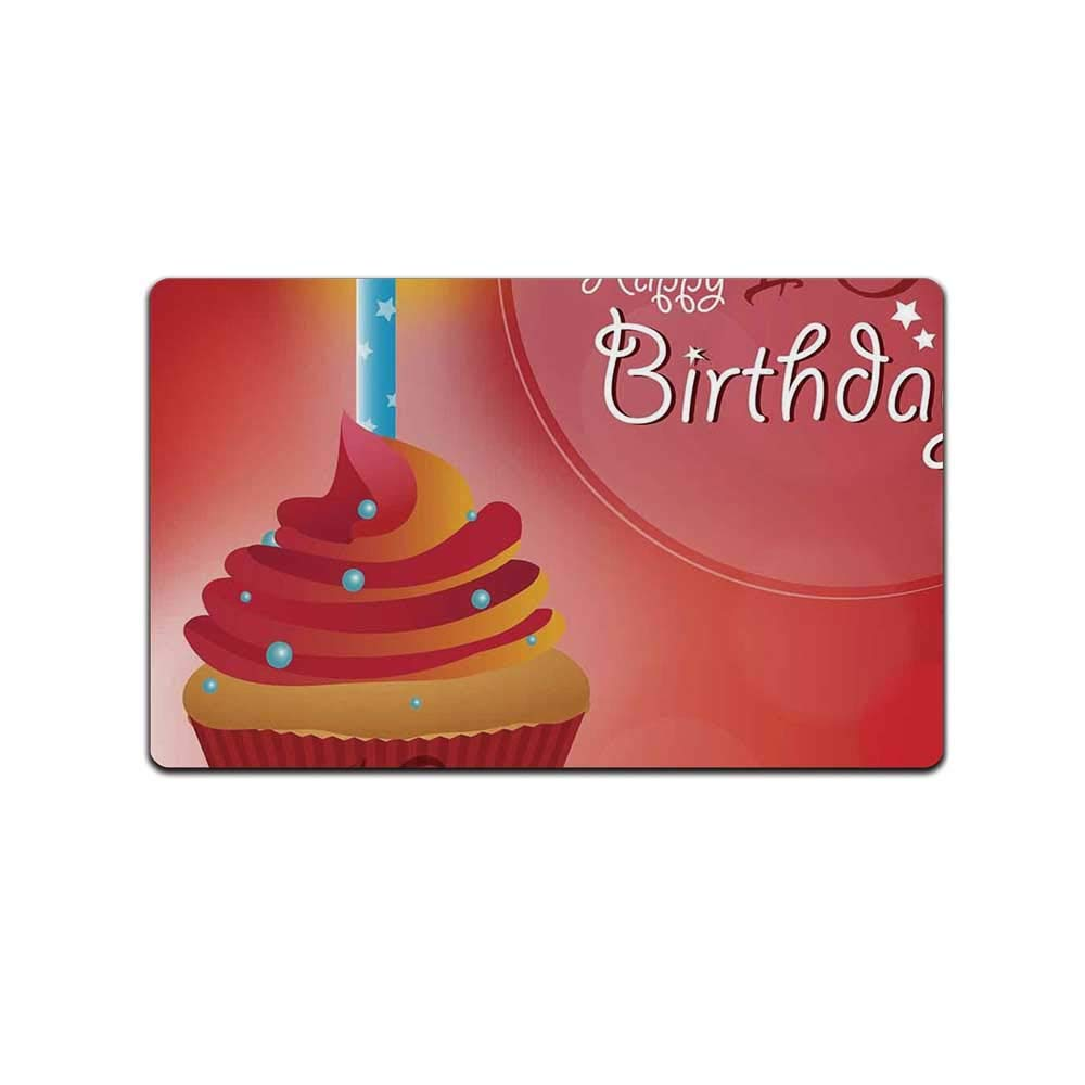 YOLIYANA 18th Birthday Decoration Skin Friendly Doormat,Sweet Eighteen Party Birthday Cupcake with Candles for Back Door,31'' Lx19 W