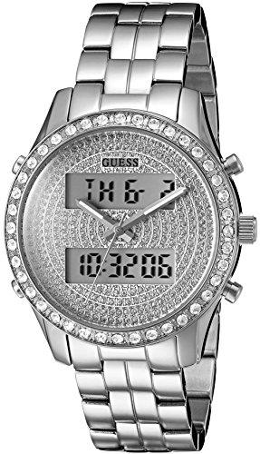GUESS Women's U0817L1 Trendy Silver-Tone Stainless Steel Multi-Function Watch with Digital Dial and Pilot Buckle