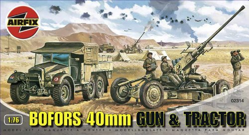 Airfix A02314 1:76 Scale Bofors 40MM Gun and Tractor Military Vehicles Classic Kit Series 2 ()