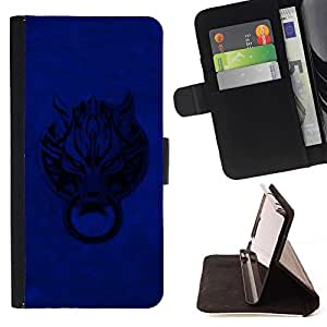DEVIL CASE - FOR LG OPTIMUS L90 - Blue Door Wolf - Style PU Leather Case Wallet Flip Stand Flap Closure Cover