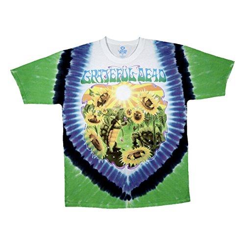 Terrapin Turtle - Liquid Blue Men's Grateful Dead Sunflower Terrapin Tie Dye Short Sleeve T-Shirt, Multi, Small