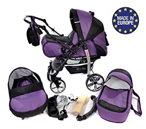 Sportive X2 - Sistema de viaje 3 en 1, silla de paseo, carrito con capazo y silla de coche, RUEDAS GIRATORIAS y accesorios (Sistema de viaje 3 en 1, violeta, negro)