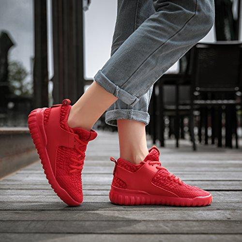 TIOSEBON Womens Joker Fashion Shoes Lightweight Breathable Sneakers 6501 Red AXJrap7t