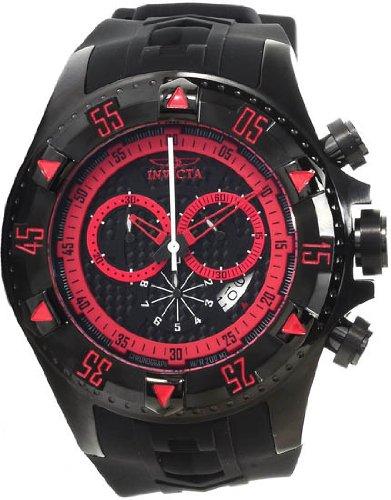 (Invicta Men's 12690 Excursion Sport Chronograph Black Carbon Fiber Dial Black Silicone)