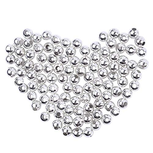 (BronaGrand 1000 Pieces Metal Spacer Beads Round Ball Beads Seamless Smooth Lose Beads for Bracelets, Necklaces, Jewelry Making and Craft, Diameter 4mm, Solid Silver Plated)