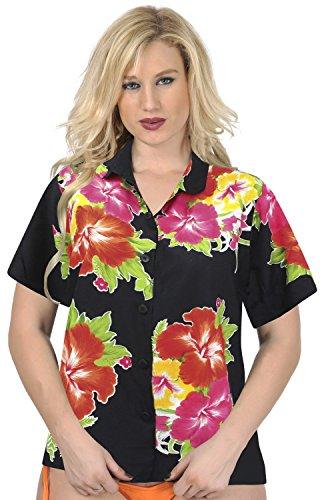 con botones de la blusa superior encubrir camisa hawaiana se�oras del collar manga corta ropa de playa Rojo