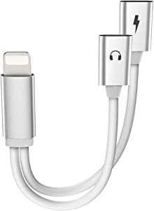 iPhone Adapter,Dual Lighting Headphones Jack and Charge Adapter Dongle Cable Compatible with iPhone11/11Pro/X/XR/XS/XSmax/8/7,Support All IOS System