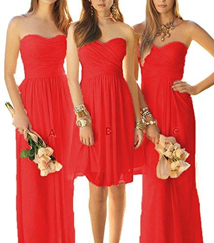 Robes De Mariée Longue Cdress Robes Du Soir En Mousseline De Bal Robes Formelles De Mariage Rouge B