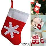 Whitelotous 12 PCs 5 Inch Mini Christmas Stockings, Silverware Dinnerware Cover Table Decor, Christmas Tree Decor Hanging Ornament, Snowflake Pattern Nonwoven