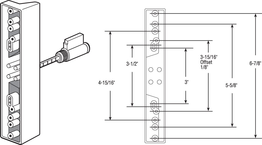 Slide-Co 141860 Sliding Door Outside Pull with Key, Black/Diecast, Fits 7 Different Hole Center Spacings