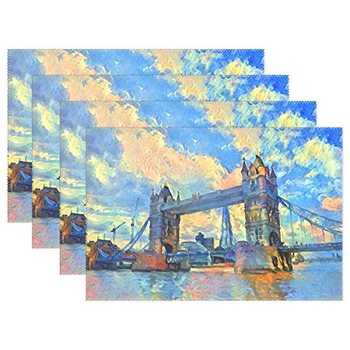 Jereee Oil Painting London Tower Bridge Set of 6 Placemats Heat-Resistant Table Mat Washable Stain Resistant Anti-Skid Polyester Place Mats for Kitchen Dining -
