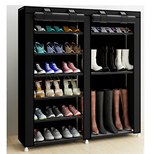 TXT&BAZ 27-Pairs Portable Boot Rack Double Row Shoe Rack with Nonwoven Fabric(7-Tiers Black)