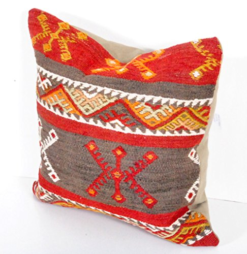 16x16 kilim Pillow Cover from Turkey,Pale Colors Decorative Pillows for Couch,Large Throw Pillows skp1-61
