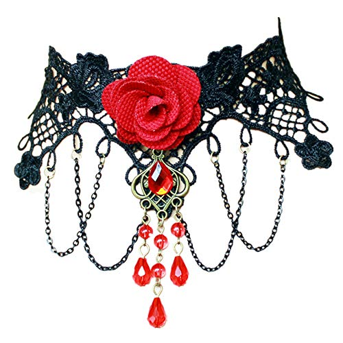 LEFINIS Red Flower Rose Beads Popular Girl Gothic Lolita Black Lace Collar Choker Necklace