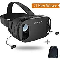 3D VR Glasses W/Headphones Virtual Reality Headset for VR Games & 3D Movies by LyStar, VR Headset 3D Video Glasses for IOS & Android Smartphones Fit for 4.5-6.0, Touch Screen Button Trigger