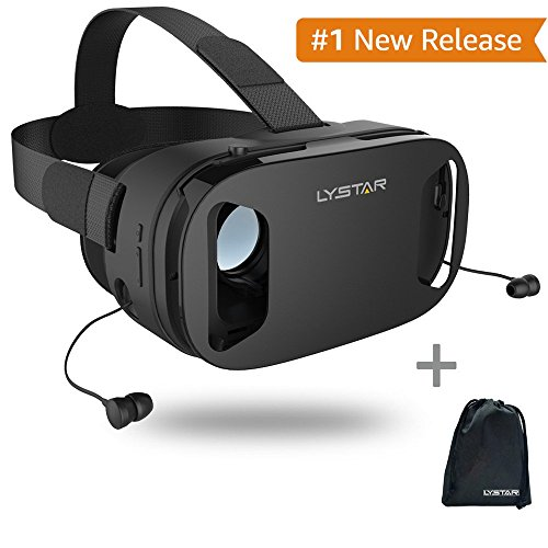 3D VR Glasses W/Headphones Virtual Reality Headset for VR Games & 3D Movies by LyStar, VR Headset 3D Video Glasses for IOS & Android Smartphones Fit for 4.5'-6.0', Touch Screen Button Trigger
