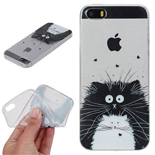 Beiuns Custodia in TPU per Apple iPhone 5 5G 5S / iPhone SE (4 pollici) silicone morbido cover - HX531 Gatto bianco e nero