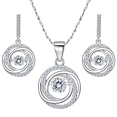 BriLove Women 925 Sterling Silver Dancing CZ Round Spiral Swirl Pendant Necklace Dangle Earrings Set Clear on sale
