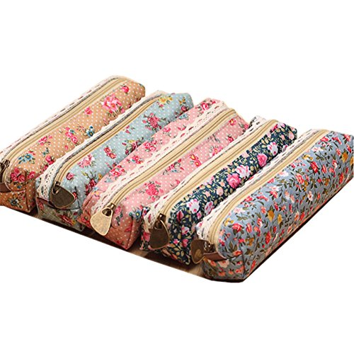 Canvas Floral Pencil Case, 5 Pieces Flower Pen Holder Stationery Pencil Pouch Cosmetic Bags