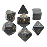 Chessex Polyhedral 7-Die Opaque Dice Set - Black With Gold