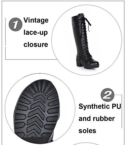 up Lace Block Heels Boots Ladies Boots Biker Black Fashion Vintage Martin Knee HiTime High Low q4tExTTz