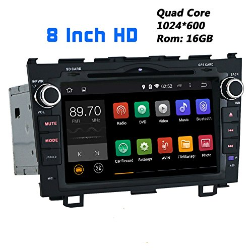 JOYING 8 Inch 1024600 Android 4.4.4 Kitkat Quad Core Car Stereo for Honda CR-V 2007 2008 2009 2010 2011 2012 in Dash Hd Capacitive Touch Screen Car DVD Player GPS Navigation System Radio Head Unit Autoradio Support Bluetooth/sd/usb/steering-wheel/fm/am Radio/av-in/1080p/mirror Link