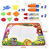 7 year old girl drawing - CloverTale Water Doodle Mat, Water Painting Doodle Mat, Kids Doodle Mat, Water Drawing Mat Toddlers Painting Magic Water Writing Mats with 2 Magic Pens and 2 Brush 16 Stencils for Boys Girls Gift Toy