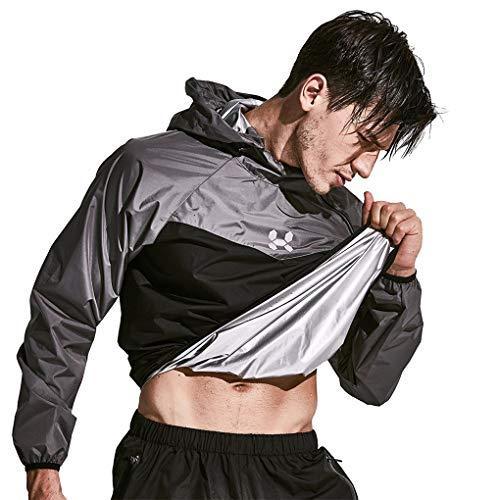 HOTSUIT Sauna Suit Men Weight Loss Jacket Pant Gym Workout Sweat Suits, Gray, M