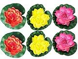 RaanPahMuang 6 Pcs Large Artificial Floating Foam Lotus Flower Pond Decor Water Lily, Pink Orange Yellow