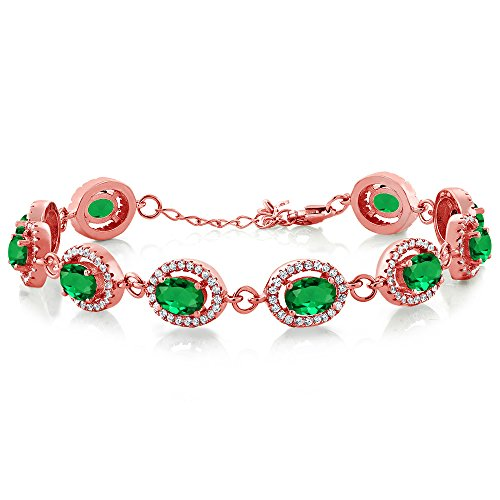 Gem Stone King 8.88 Ct Oval Green Simulated Emerald 18K Rose Gold Plated Silver 7.5inches Bracelet