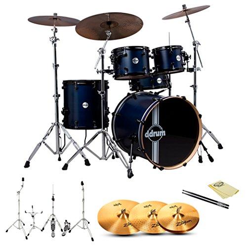 ddrum REFLEX-RSL-5-PC-BLS Reflex RSL Blue Satin 5-Pc Shell Pack w/ Zildjian ZBT Cymbals, Hardware, ChromaCast Drumsticks and GoDpsMusic Polish Cloth (Ddrum Sets Cymbals)