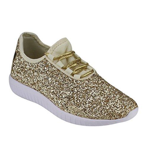itter Fashion Sneaker for Children/Girl/Kids Gold ()