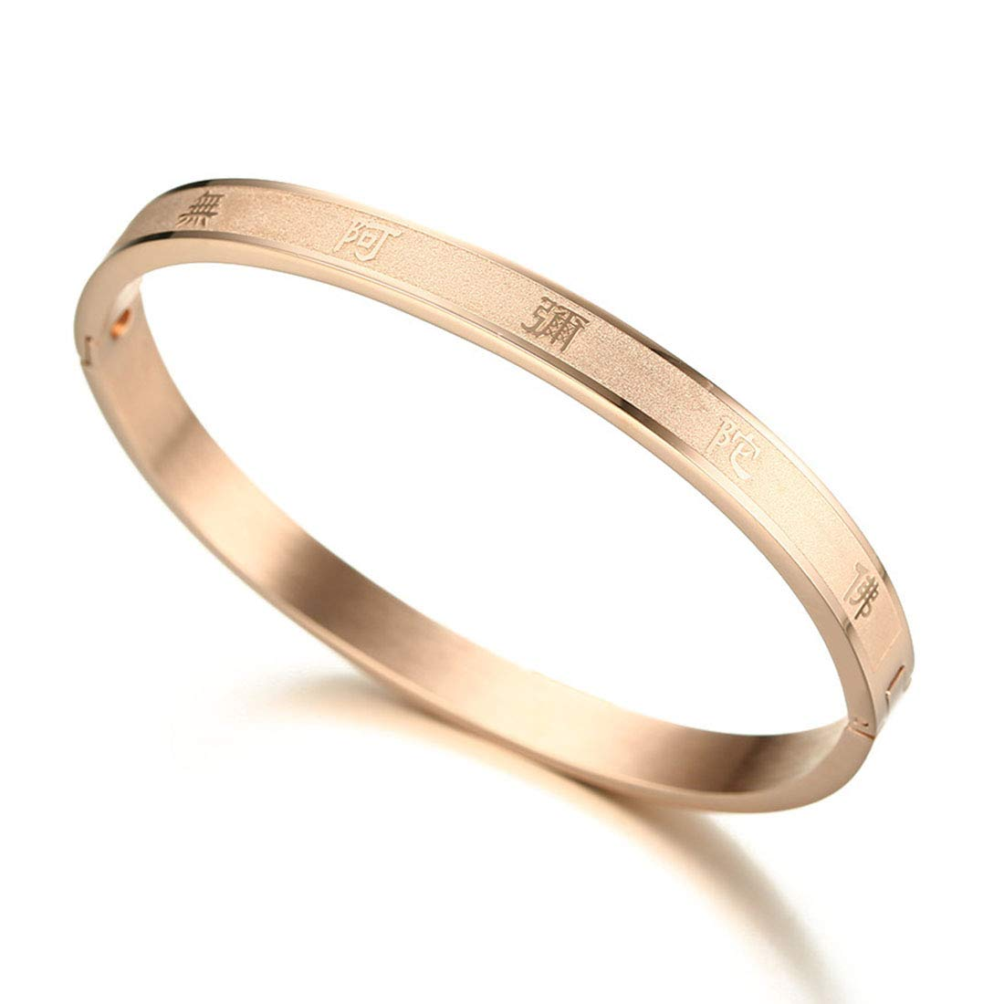 Womens Surgical Steel Tibet Buddhist Six Words Cuff Bangle Bracelet 6.7 Silver/Gold/Rose Gold ltd BRJSF00077R