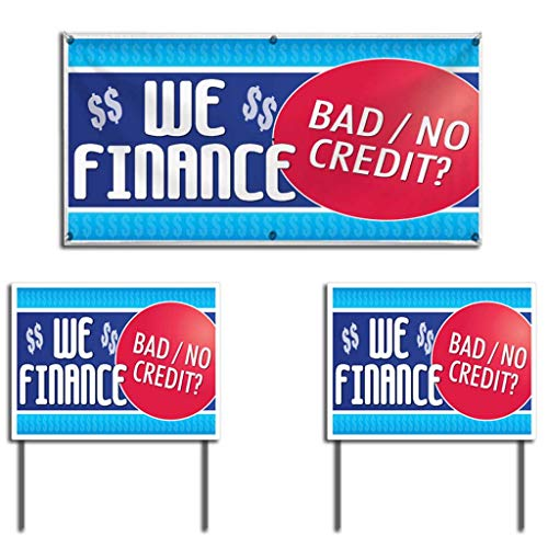 VictoryStore Outdoor Banner and Sign Set - Auto Sales Banner We Finance Bad Credit Banner and 2 Yard Signs, Includes a 2'x4' Banner with Grommets and Two 18