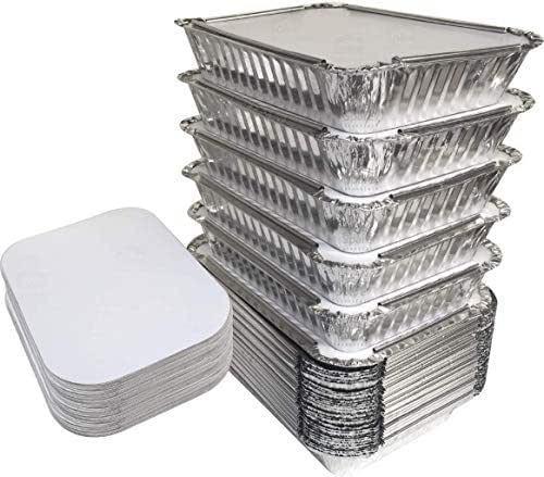 55 Pack - 2.25 LB Aluminum Pan/Containers with Lids/To Go Containers/Aluminum Pans with Lids/Take Out Containers/Aluminum Foil Food Containers From Spare - 2.25Lb Capacity 8.5